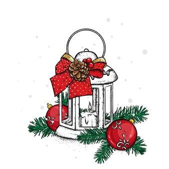Lanterne de noël et décorations du nouvel an
