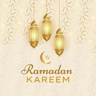 Lanterne d'or réaliste et mosquée fond carré ramadan kareem islamique