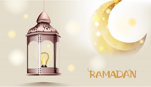 Lanterne pilier porte rose avec lune dorée sur fond