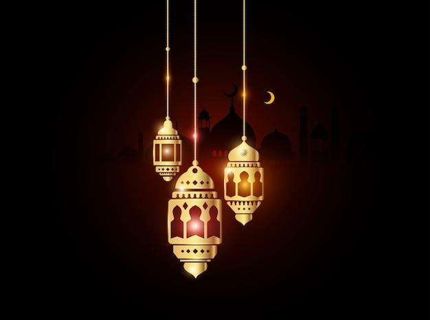 Lanterne ramadan or avec fond de mosquée