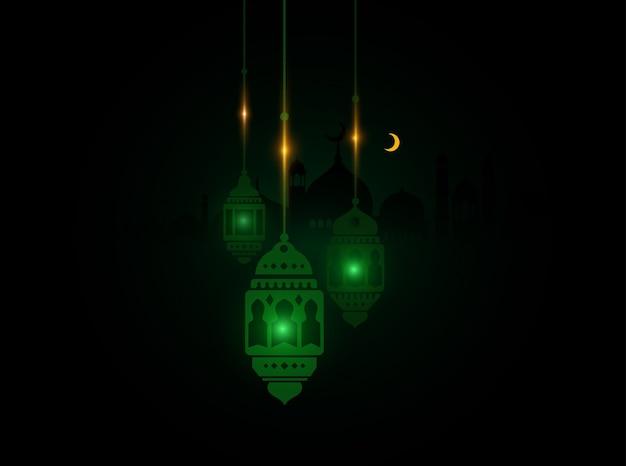 Lanterne ramadan verte avec fond de mosquée