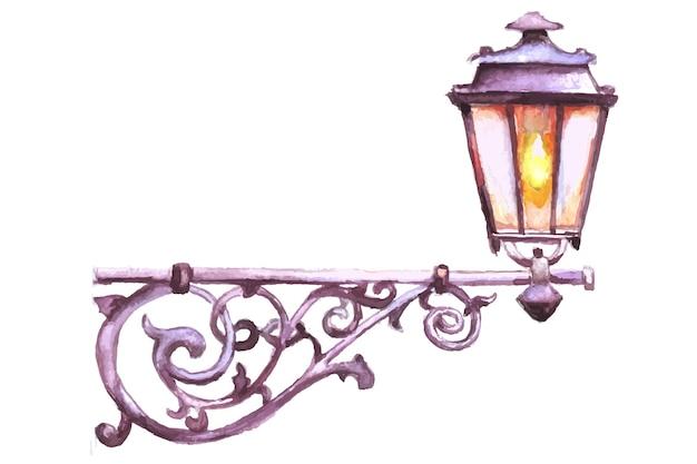 Lanterne de rue de noël. décor de vecteur de carte aquarelle