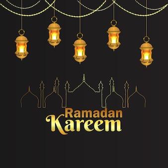 Lanterne de vecteur arabe du festival islamique du ramadan kareem et de l'arrière-plan
