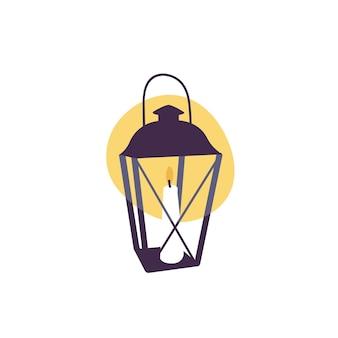 Lanterne vintage illustration vectorielle avec bougie à l'intérieur isolé sur fond blanc
