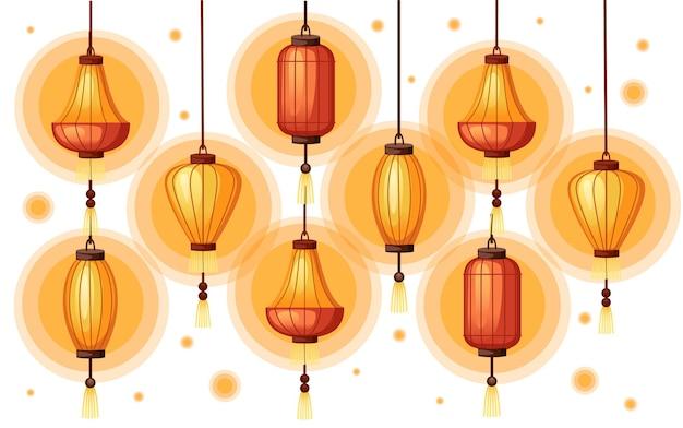 Lanternes chinoises en illustration de forme différente