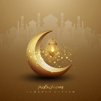 Lanternes dorées sur fond de ramadan kareem, calligraphie arabe et mosquée