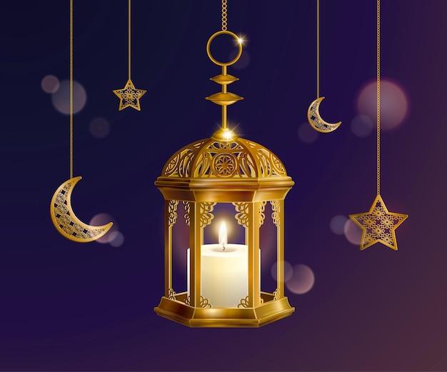 Lanternes dorées suspendues et croissant