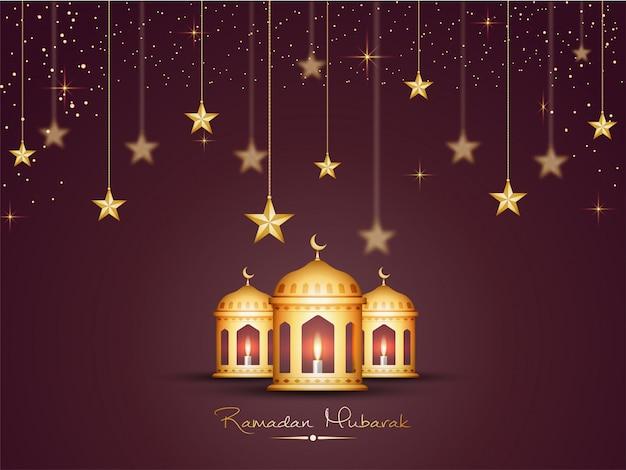 Lanternes d'or sur les étoiles décorées en arrière-plan