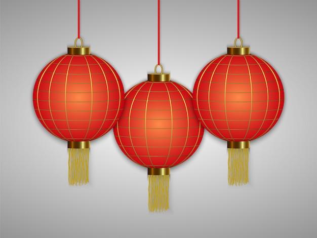 Lanternes rouges suspendues chinoises