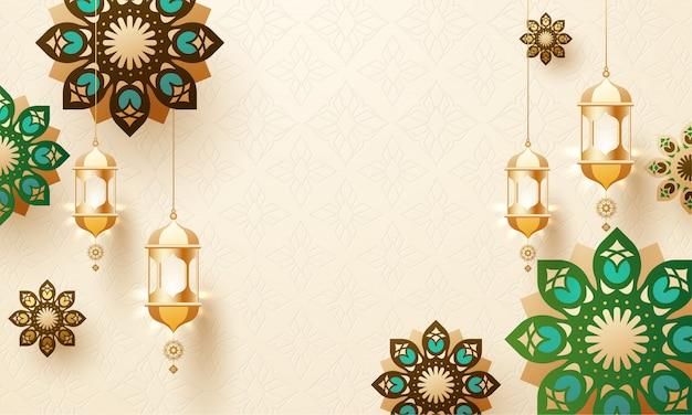 Lanternes suspendues dorées et mandala décorées sur fond arabe