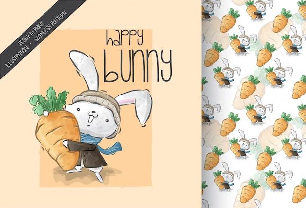 Lapin animaux mignons avec un grand modèle sans couture de carotte