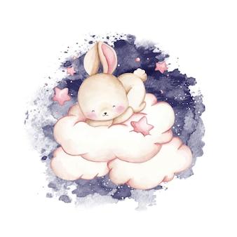 Lapin aquarelle dormir sur le nuage