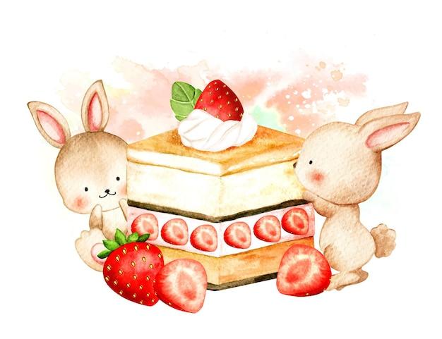 Lapin aquarelle avec gâteau aux fraises