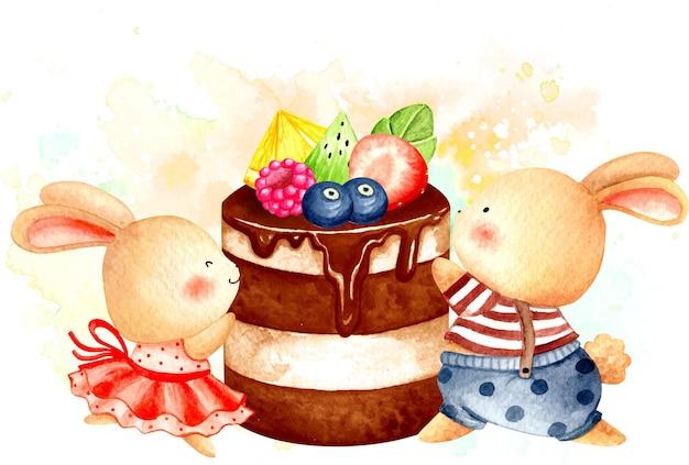Lapin aquarelle et gâteau aux fruits