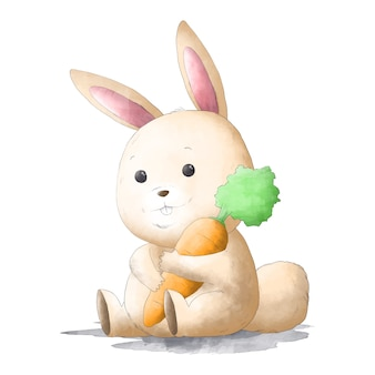 Lapin aquarelle mignon étreignant la carotte