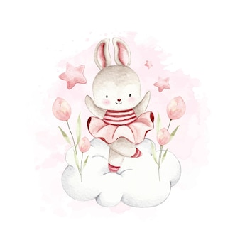 Lapin ballerine aquarelle dansant sur le nuage et fleur rose et étoile