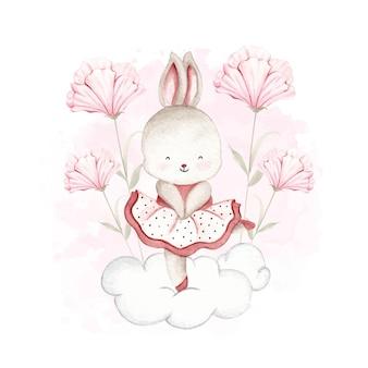 Lapin ballerine aquarelle dansant sur le nuage et fleur rose