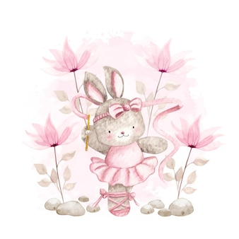 Lapin ballerine aquarelle avec fleurs roses