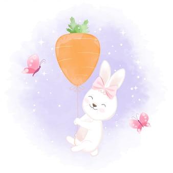 Lapin avec ballon carotte illustration dessinée à la main