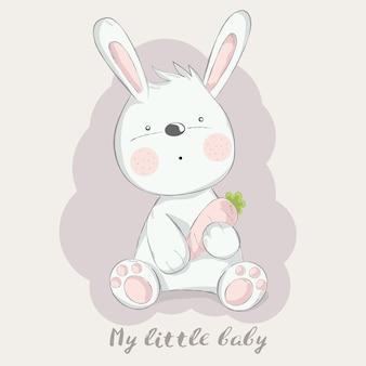 Lapin bébé mignon avec style dessin animé carotte dessinés à la main