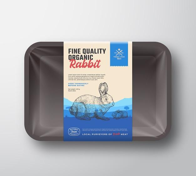 Lapin biologique de qualité supérieure. maquette de conteneur de plateau en plastique de viande