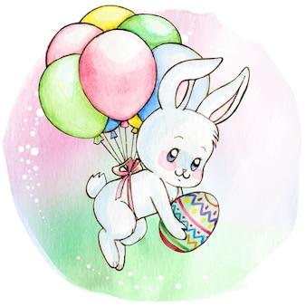 Lapin blanc mignon aquarelle volant avec des ballons tenant l'oeuf de pâques