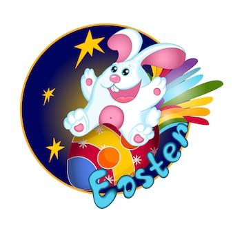 Un lapin blanc vole sur un œuf de pâques