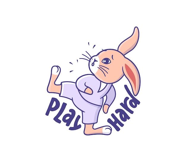 Lapin caricatural dans un style sportif. un petit lapin effectue un exercice de karaté.