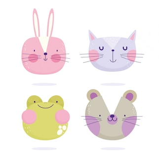 Lapin chat souris grenouille visages animaux dessin animé mignon texte