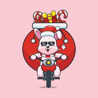 Lapin cool mignon le jour de la fête sur une moto illustration de dessin animé mignon de noël