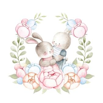 Lapin de couple aquarelle avec guirlande de fleurs
