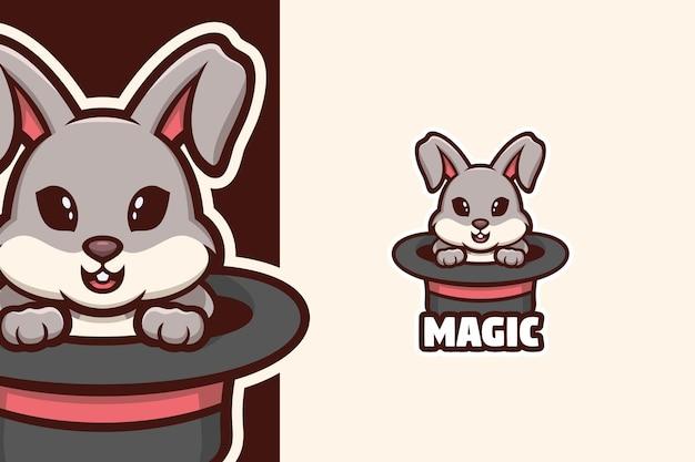 Lapin dans la mascotte de logo de chapeau de magicien