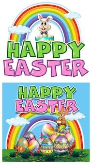 Lapin de Pâques et oeufs colorés