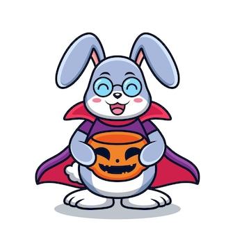Lapin avec dessin animé de costume d'halloween. illustration d'icône de vecteur animal, isolée sur le vecteur premium