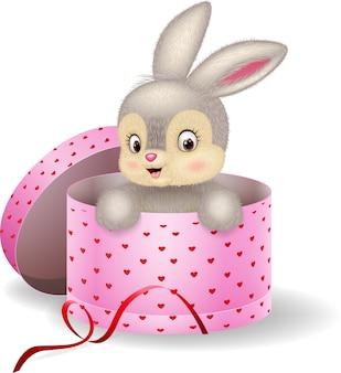 Lapin de dessin animé dans une boîte cadeau