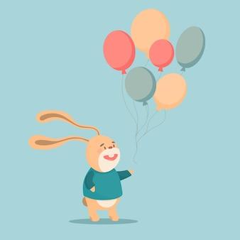 Lapin de dessin animé avec des illustrations vectorielles de ballons sur fond turquoise pastel. conception de bannière, cartes postales, emballage.