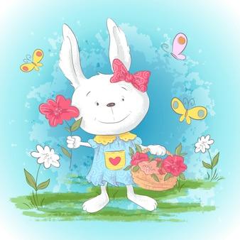 Lapin de dessin animé mignon carte postale illustration avec des fleurs et des papillons