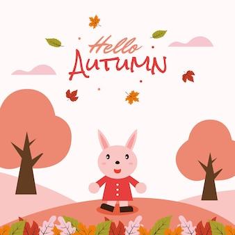 Lapin de dessin animé mignon dit bonjour illustration de carte de bannière d'automne vecteur premium