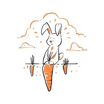 Lapin dessiné à la main tirant une grosse carotte