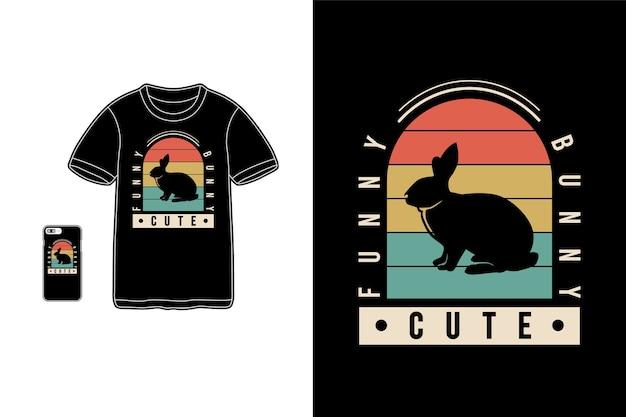 Lapin drôle mignon, typographie de maquette de siluet de lapin de marchandise de t-shirt