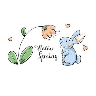 Lapin avec fleur, bonjour printemps