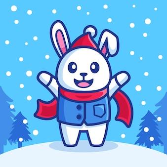 Lapin heureux dans la saison d'hiver des chutes de neige