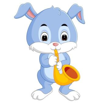 Lapin jouant au saxophone