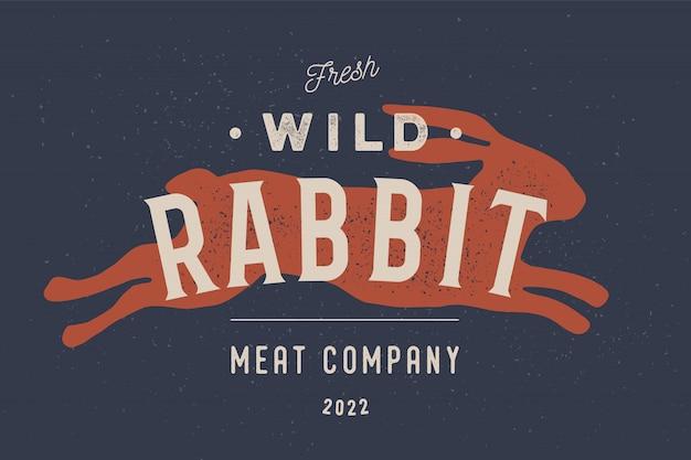 Lapin. logo vintage, impression rétro, affiche pour boucherie