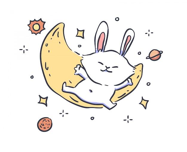 Lapin avec lune sur fond blanc