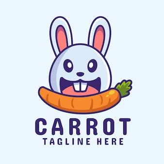 Lapin mangeant la création de logo de dessin animé de carotte