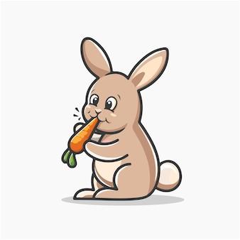 Lapin, manger, vecteur, illustration, dessin animé, clipart