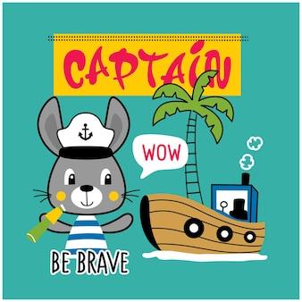 Lapin, le marin, drôle, animal, dessin animé