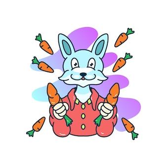 Lapin avec des mascottes d'illustration de carotte à la main