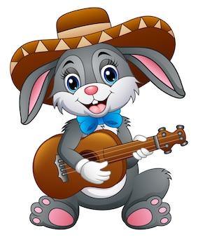 Lapin mexicain jouant de la guitare et de la sérénade